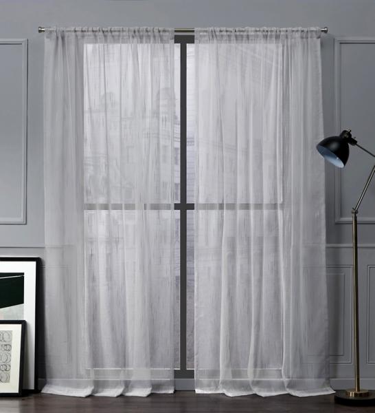 Silver Wellington Slub Curtain Panel Set