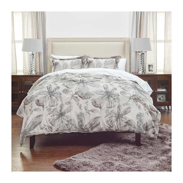 Gray Floral Cotton 3-Piece Comforter Set