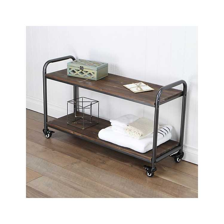 Wood and Steel Frame 2-Tier Rolling Cart
