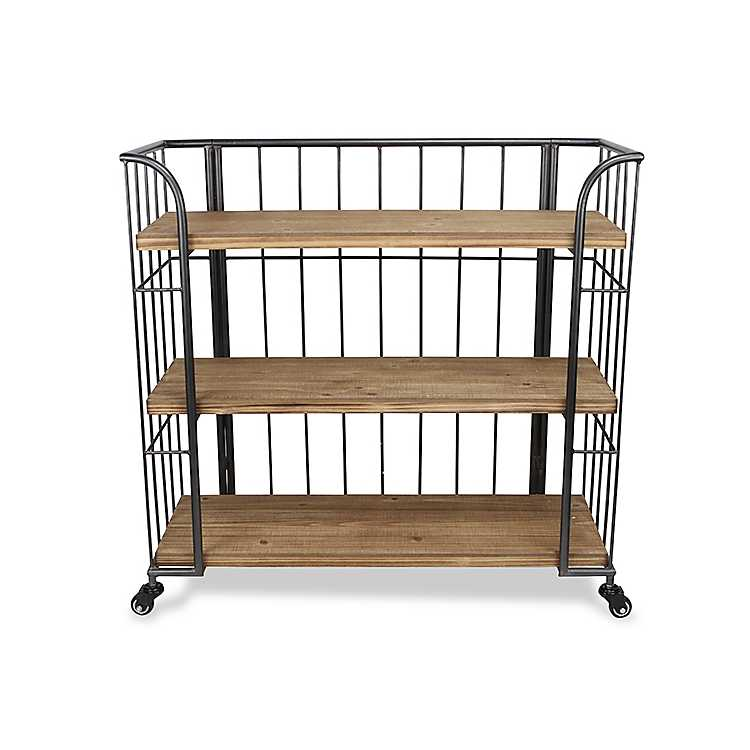 Product Details Wood And Steel Frame Rolling 3 Tier Bookshelf
