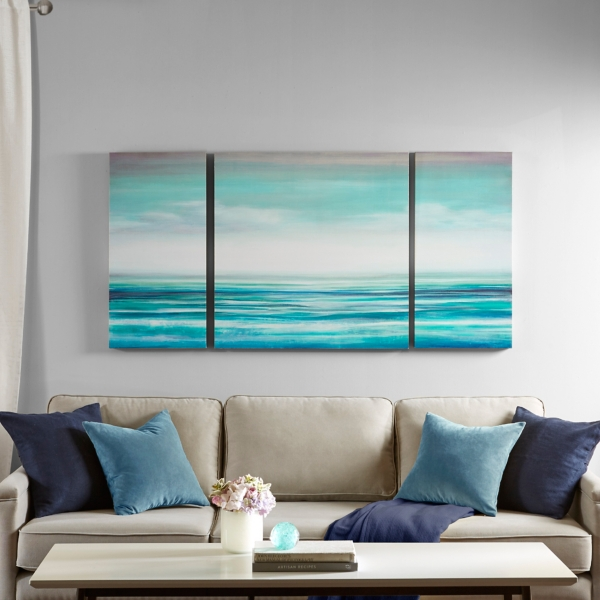 Set of 3 Teal Tides Gel Coat Canvas Art Prints