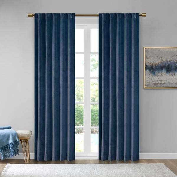 Navy Velvet Greta Curtain Panel Set