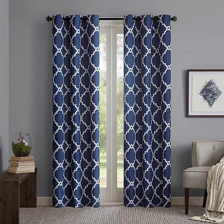 Blue Alma Trellis Curtain Panel Set, 63