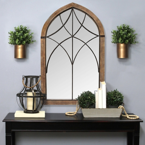 Stained Wood Frame Cathedral Wall Mirror