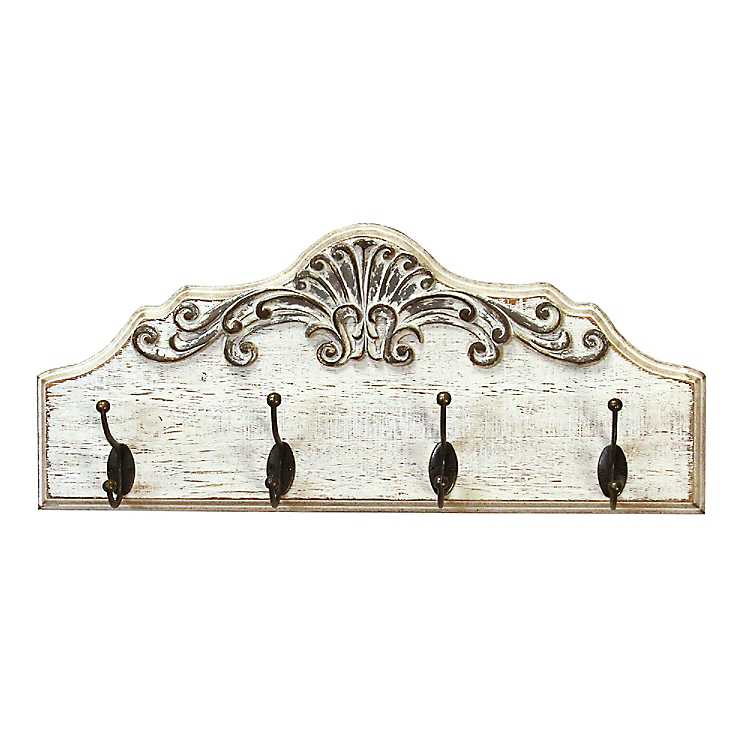 Large Home Sweet Home Wooden Wall Rack Shabby Chic Distressed Metal Hooks