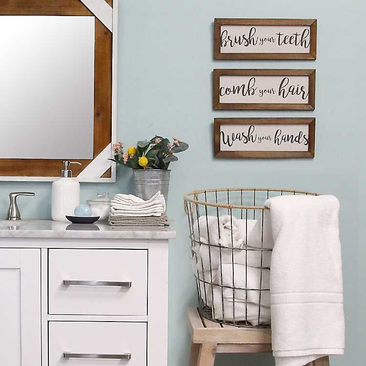 Bathroom Rules Framed Wall Plaques Set