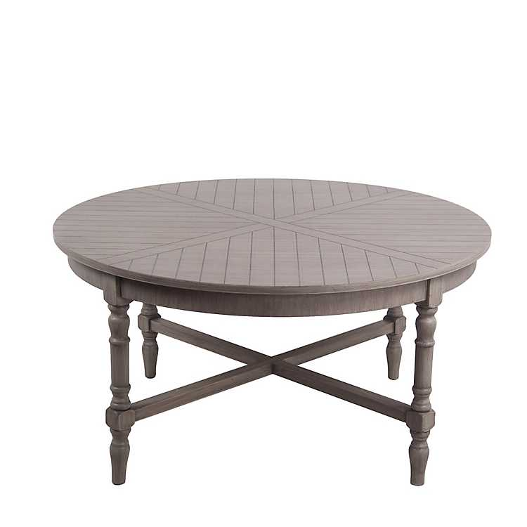 Product Details. New! Brown Round Scarlett Wood Slat Coffee Table