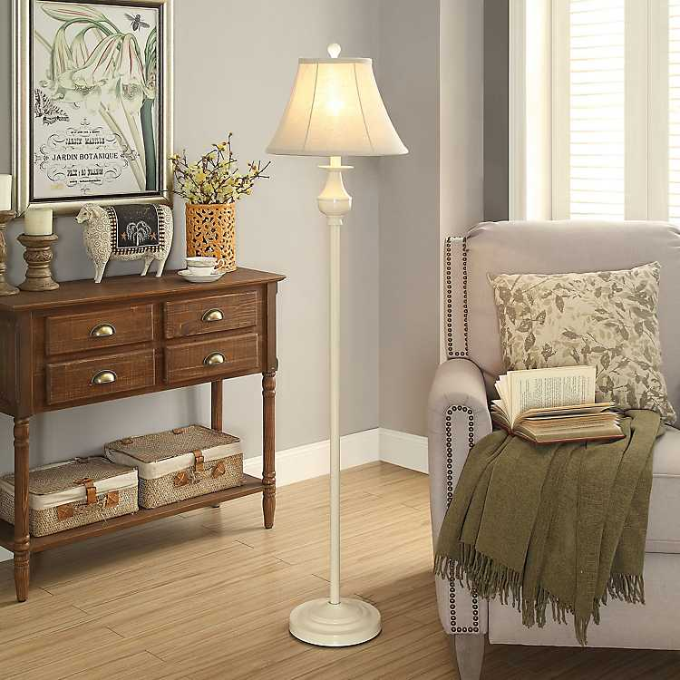 Off White Spindle Metal Floor Lamp