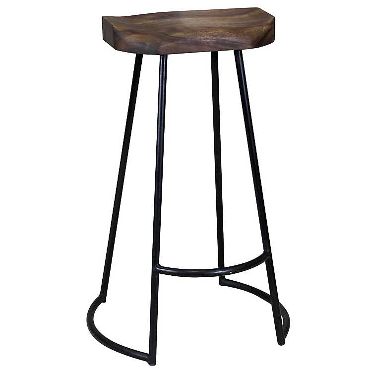 Tremendous Acacia Wood Seat Wrought Iron Base Bar Stool Creativecarmelina Interior Chair Design Creativecarmelinacom