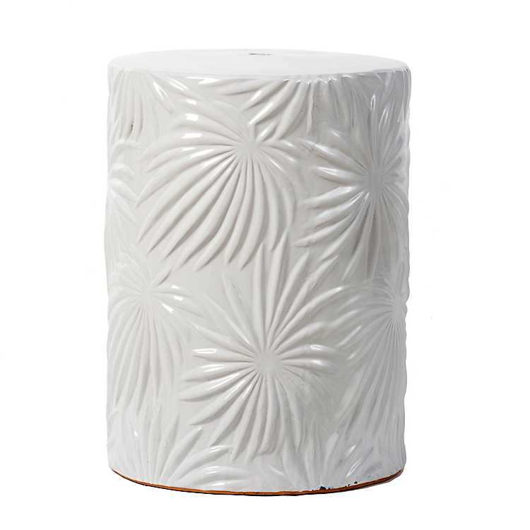 Pleasing White Embossed Palm Leaf Garden Stool Inzonedesignstudio Interior Chair Design Inzonedesignstudiocom