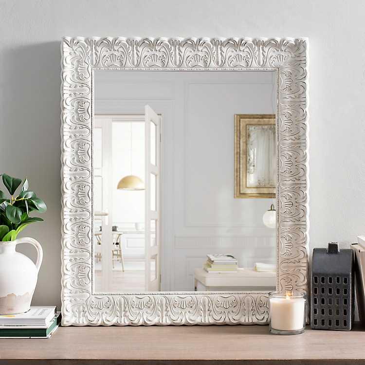White Distressed Ornate Framed Mirror