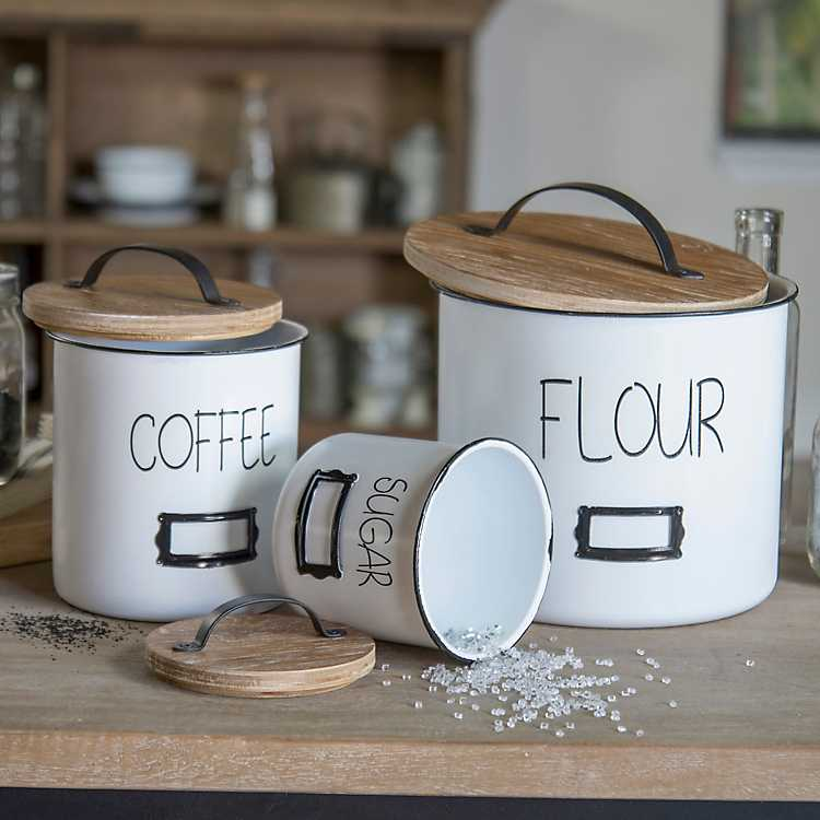 White Sugar Flour Coffee Canisters