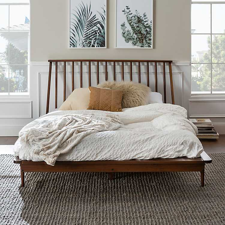 Pleasing Walnut Mid Century Modern Queen Bed Frame Inzonedesignstudio Interior Chair Design Inzonedesignstudiocom