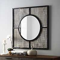 Rustic Modern Square Wooden Mirror