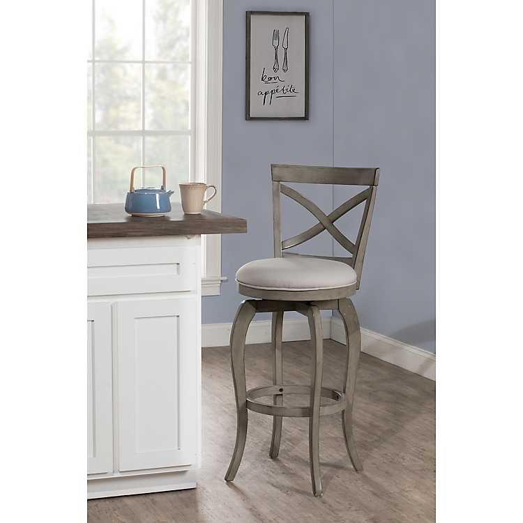 Enjoyable Aged Gray X Back Counter Swivel Stool Ibusinesslaw Wood Chair Design Ideas Ibusinesslaworg