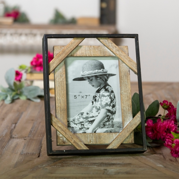 Wood and Metal Open Design Picture Frame, 5x7