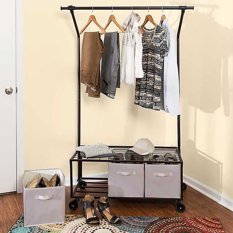 Portable Garment Rack with Storage Bins
