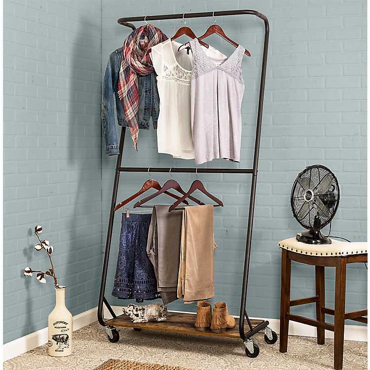 Portable Double Bar Garment Rack