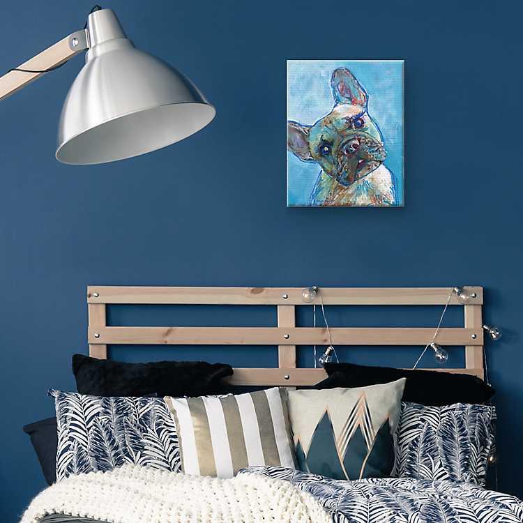 Blue French Bulldog Puppy Canvas Art Print
