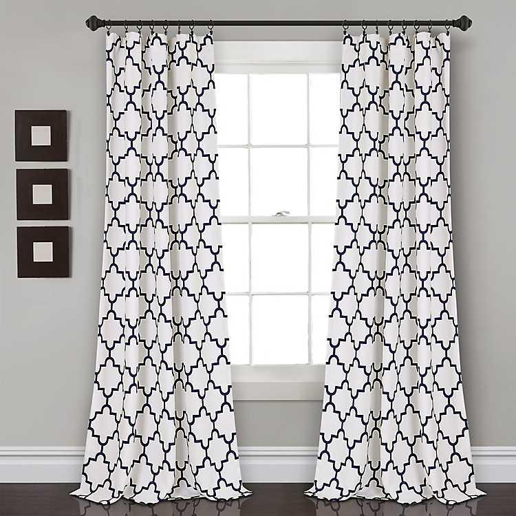 Navy Trellis Darkening Curtain Panel