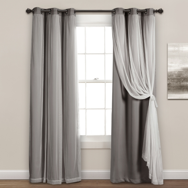 Gray Curtain Panel Set with Overlay, 95 in.
