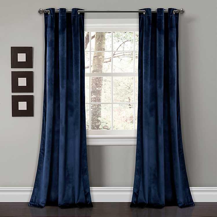 Navy Velvet Curtain Panel Set 108 In