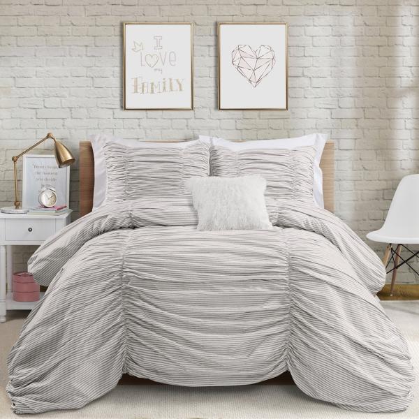 Gray Ticking Stripe 3-pc. Full/Queen Comforter Set