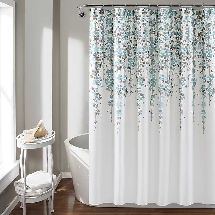 Gray Weeping Flower Shower Curtain