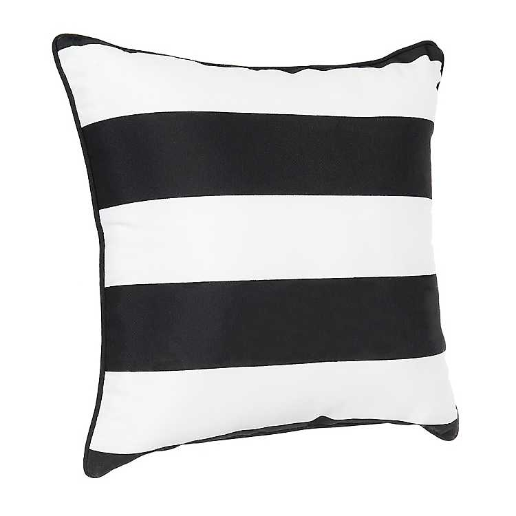 Black And White Canopy Stripe Lumbar Pillow Indian South Asian Home Décor Pillows Khuddam Home Garden