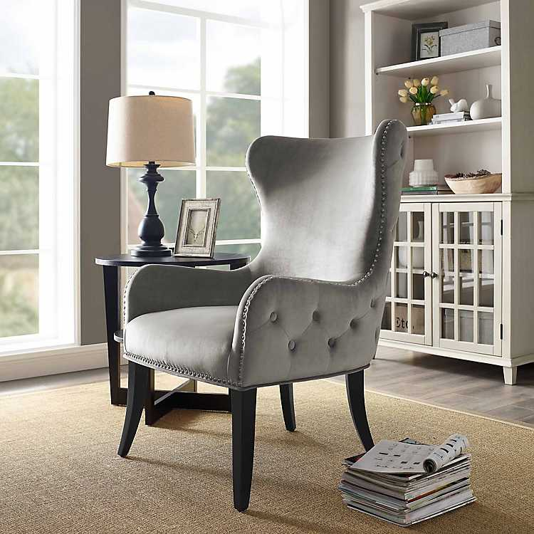 Fabulous Dark Gray Tufted Sara Accent Chair Ocoug Best Dining Table And Chair Ideas Images Ocougorg
