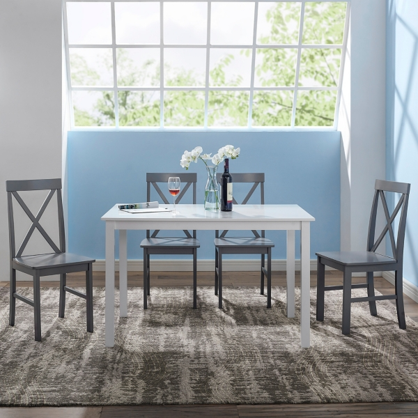 Pleasant White And Gray Solid Wood 5 Pc Dining Set Kirklands Home Remodeling Inspirations Basidirectenergyitoicom