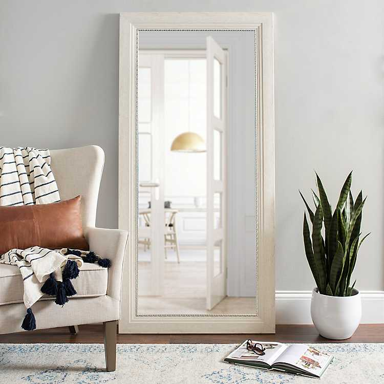 White Rustic Mirror With Silver Detail