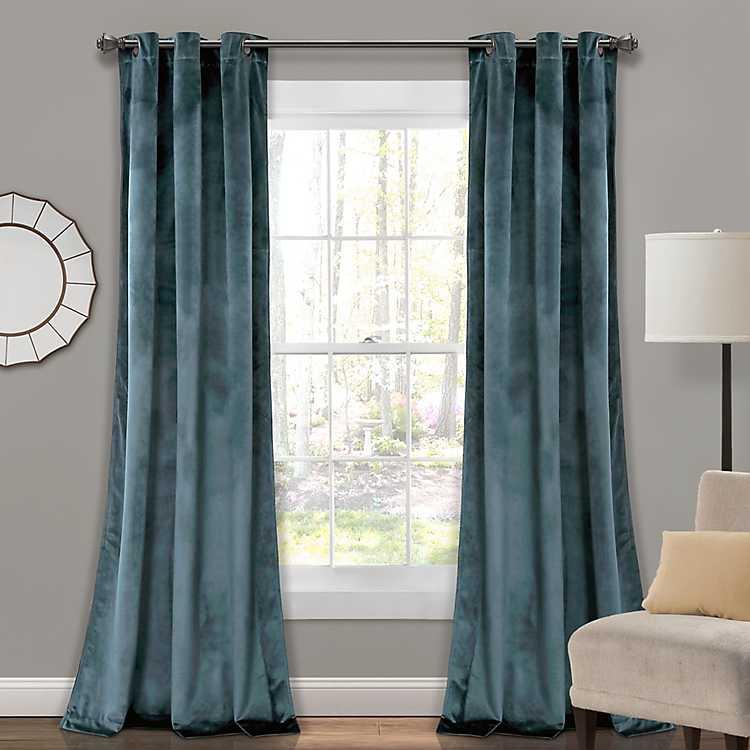 Slate Blue Prima Velvet Curtain Panel