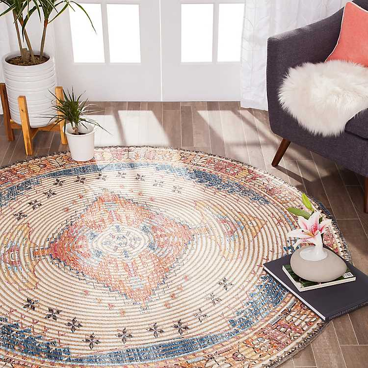 Jute And Chenille Medallion Area Rug 8