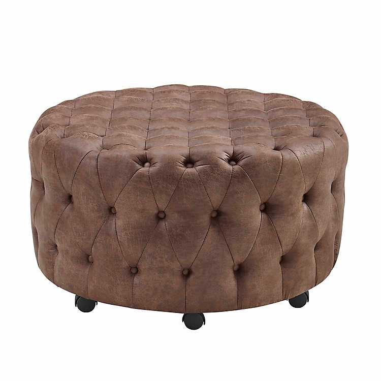 Cool Tufted Brown Rolling Thorne Ottoman Lamtechconsult Wood Chair Design Ideas Lamtechconsultcom