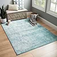 Blue Green Velvet area rug