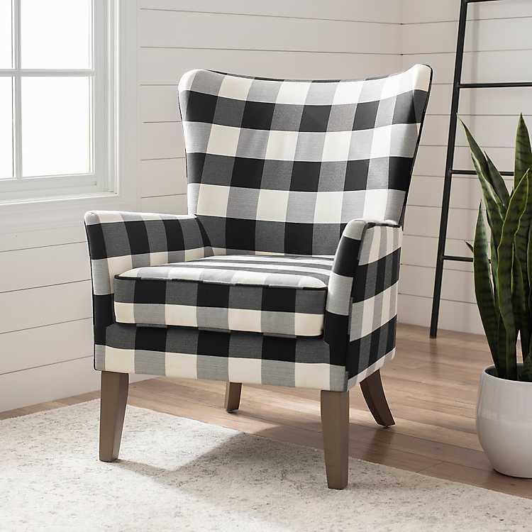White Buffalo Check Wingback Chair