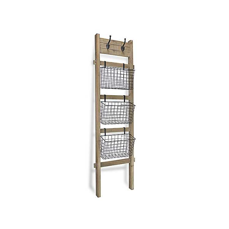size 40 a832e 681a3 Leaning Storage Ladder with Hooks and Baskets
