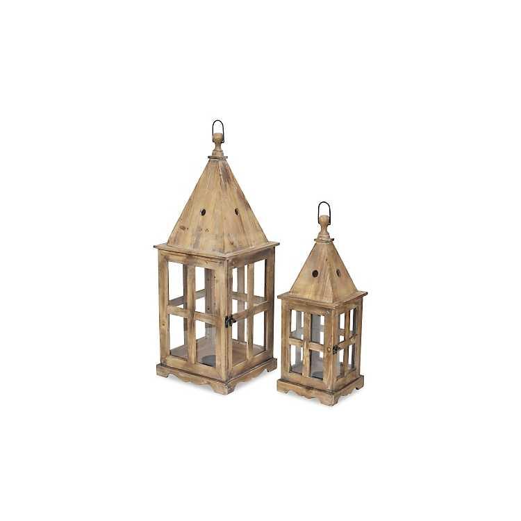 Wooden Window Frame Lanterns Set Of 2