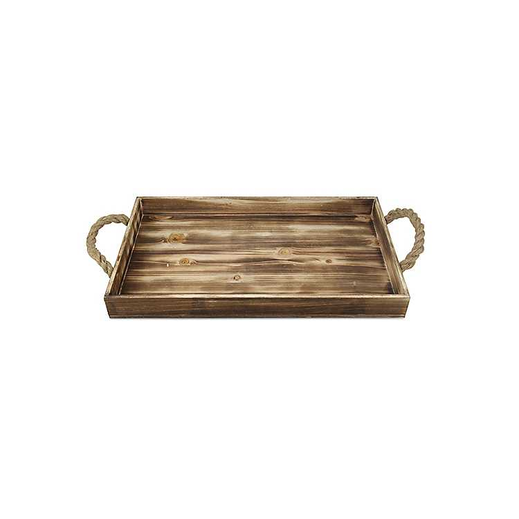 Wooden Tray With Rope Handles Kirklands