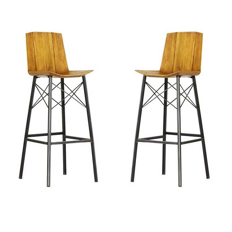 Fabulous Teak Wood Suzannah Bar Stools Set Of 2 Creativecarmelina Interior Chair Design Creativecarmelinacom