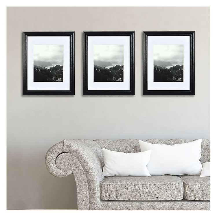 Black Wooden Wall Photo Frames Set Of