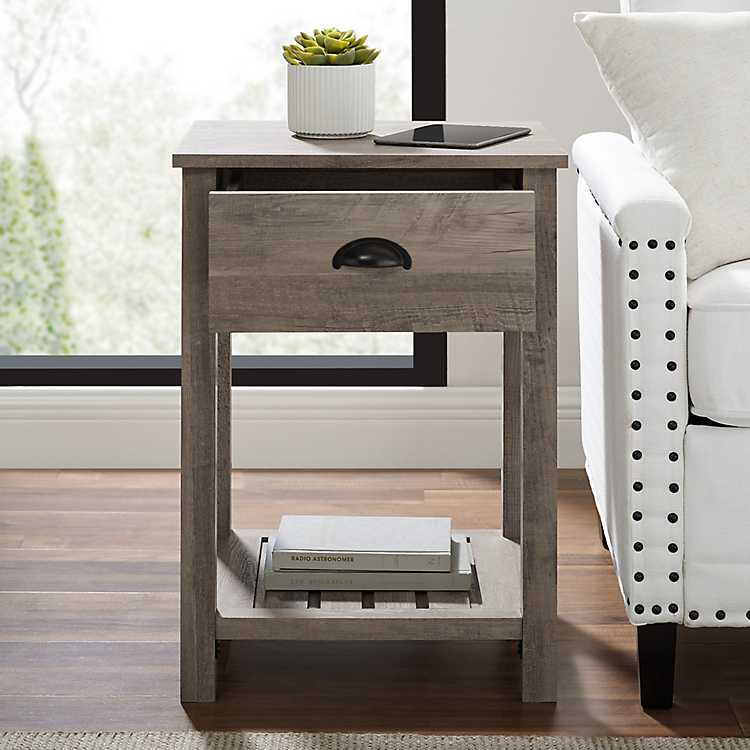 Gray Wash Country Accent Table