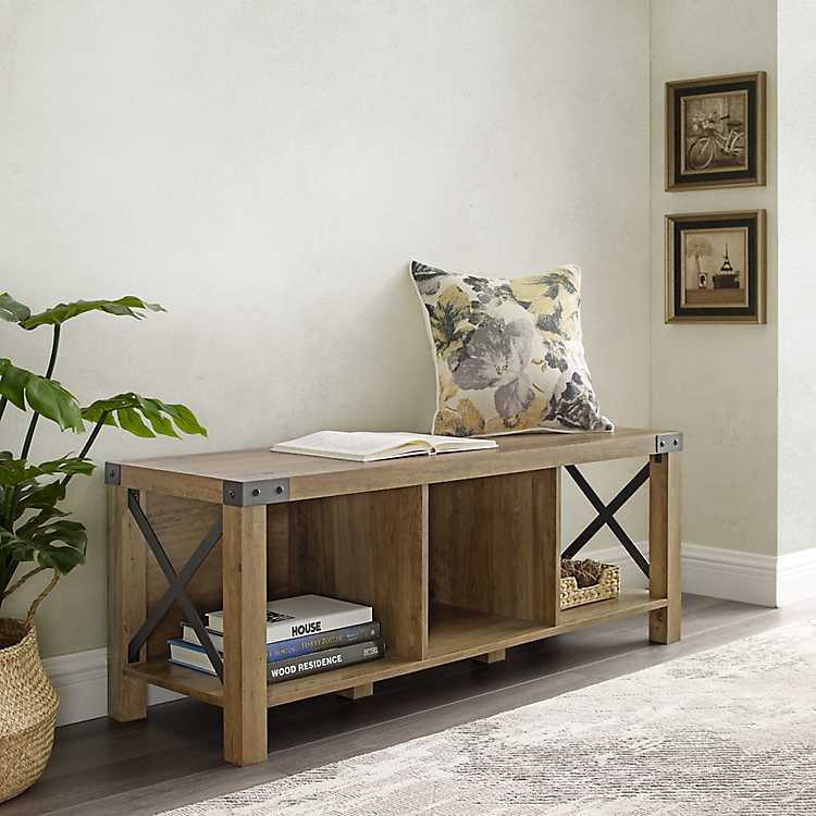 Amazing Barnwood Farmhouse Storage Bench Gmtry Best Dining Table And Chair Ideas Images Gmtryco