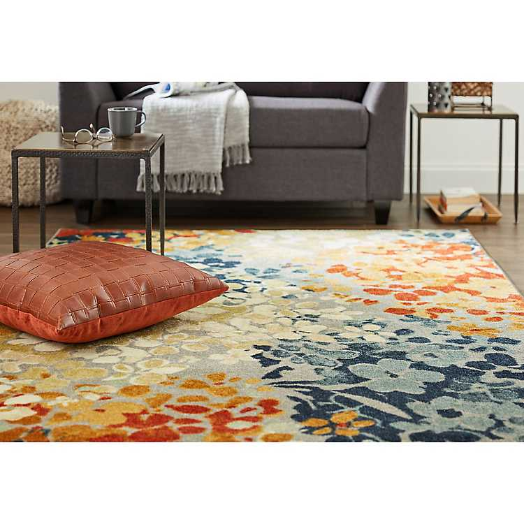Orange And Blue Radiance Area Rug 5x8