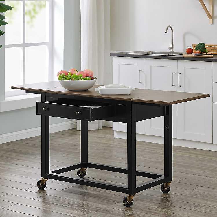 Black Drop-Leaf Kitchen Cart