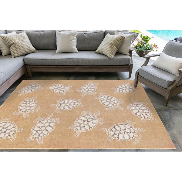 Sand Harrison Turtle Indoor/Outdoor Area Rug, 5x8 | Kirklands