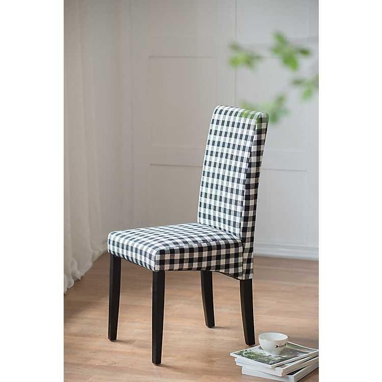 White Buffalo Plaid Dining Chair