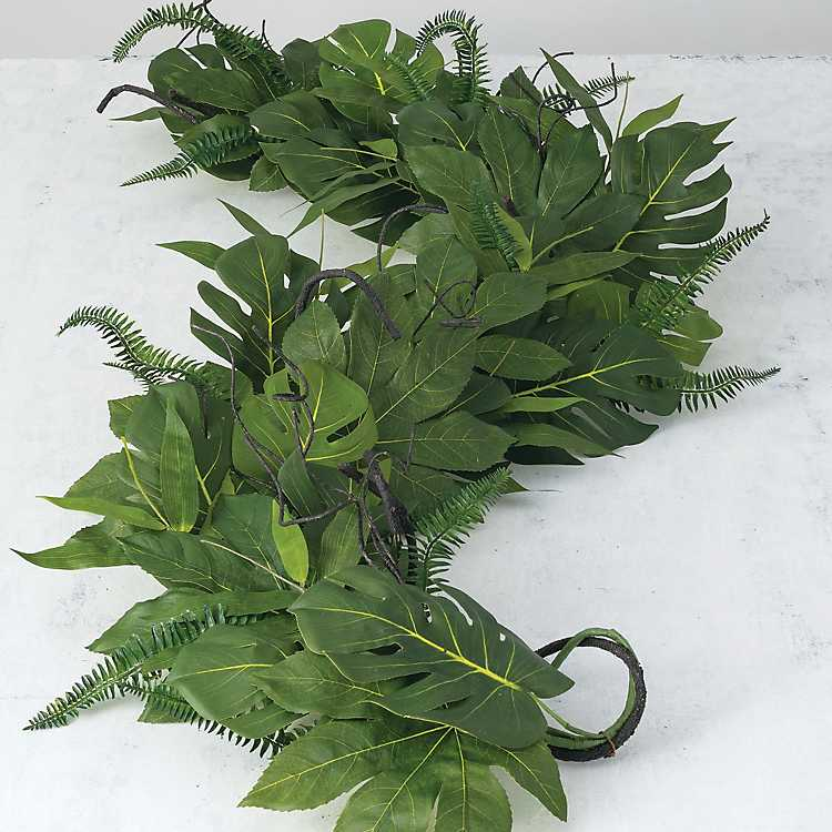tropical home decor items tropical leaf garland kirklands  tropical leaf garland kirklands
