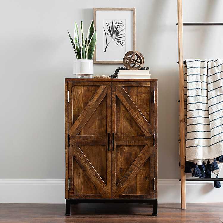 Warm Wood 2 Door Farmhouse Cabinet